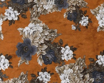 """Gold - Printed Velvet - Rayon/Polyester Fabric Material - 140cm (55"""") wide"""