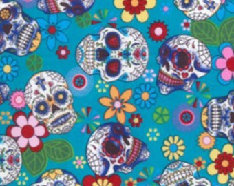 "Floral Flowers & Skulls on Turquoise - 100% Cotton Poplin Dress Fabric Material - Metre/Half - 44"" (112cm) wide"