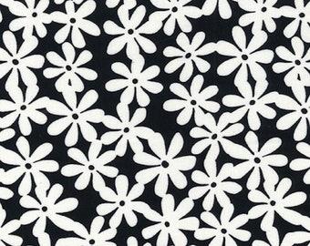 "Ivory Daisy on Black - Ponte Roma Print Stretch Soft Knit Jersey Fabric - 150cm Wide (59"")"