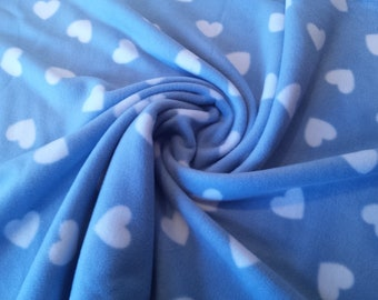 "White Hearts on Pale Blue - Polar Fleece Fabric - Metre/Half - Anti Pil - 59"" (150cm) wide"