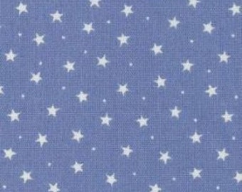 "White Stars & Spots on Blue - 100% Cotton Poplin Dress Fabric Material - 3mm Stars - Metre/Half - 44"" (112cm) wide"