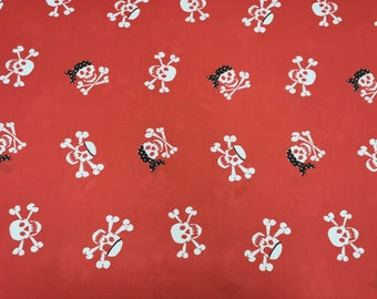 "White Skulls on Red - PolyCotton Print Fabric Material - Metre/Half - 44"" (112cm) wide"