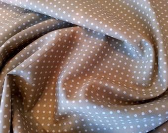"Tan Brown - 100% Cotton Poplin Dress Fabric Material - 3mm Polka Dot / Spot - Metre/Half - 44"" (112cm) wide"