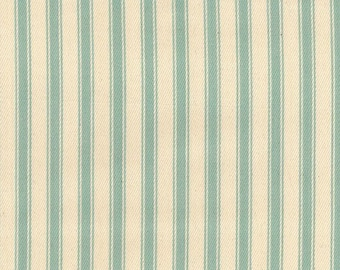 """Duck Egg Blue on Ivory - 100% Cotton Ticking Stripes Fabric Material - 137cm (53"""") wide"""