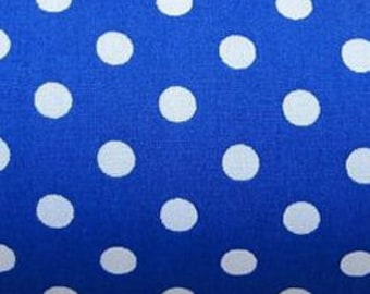 "White on Royal Blue - 100% Cotton Poplin Dress Fabric Material - 7mm Polka Dot / Spot - Metre/Half - 44"" (112cm) wide"