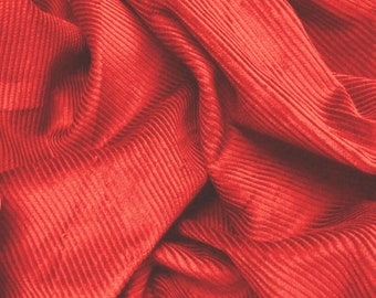 """Red - Cotton Corduroy 8 Wale Fabric Material - 144cm (56"""") wide"""