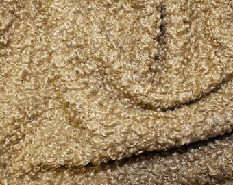 "Camel - Curly Knit Boucle Type Stretch Fabric - Polyester Material - 150cm (59"") wide"