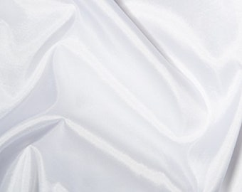 "White Taffeta Fabric Polyester Material 145cm (57"") Wide"