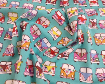 "Mint Green - VW Camper Van in Lines - 100% Cotton Poplin Dress Fabric Material - Metre/Half - 44"" (112cm) wide"