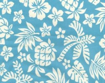 "White on Sky Blue Floral Tropical - 100% Cotton Poplin Dress Fabric - Material - Metre/Half - 44"" (112cm) wide"