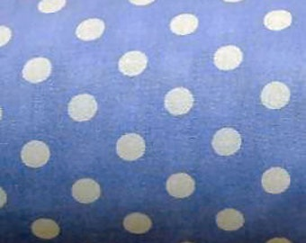 "White on Lilac - 100% Cotton Poplin Dress Fabric Material - 7mm Polka Dot / Spot - Metre/Half - 44"" (112cm) wide"