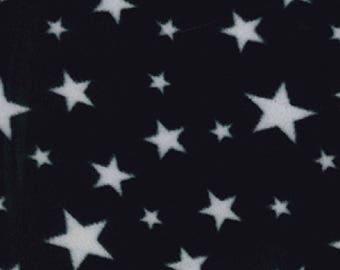 "White Stars on Black - Polar Fleece Fabric - Metre/Half - Anti Pil - 59"" (150cm) wide"