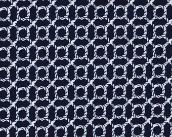 "Ivory Rope Knot on Navy Blue - Ponte Roma Print Stretch Soft Knit Jersey Fabric - 150cm Wide (59"")"