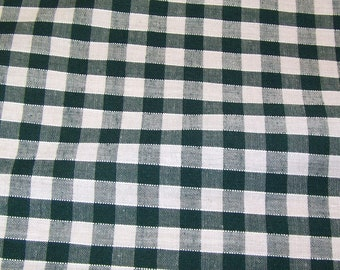 Bottle Green - Corded Gingham - Quarter Inch Check - Dress Fabric Material - Metre/Half - 44 inches (112cm) wide