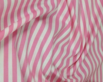 "Pink / White - 100% Cotton Poplin Dress Fabric Material - 8mm Stripe - Metre/Half - 44"" (112cm) wide"
