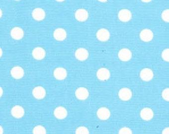 "White on Sky Blue - 100% Cotton Poplin Dress Fabric Material - 7mm Polka Dot / Spot - Metre/Half - 44"" (112cm) wide"