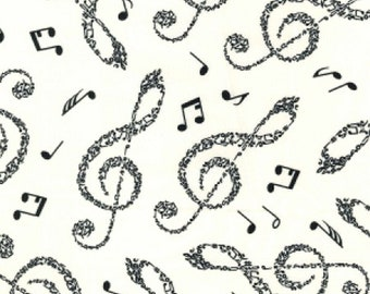 "Large Musical Notes - Black on Ivory - 100% Cotton Poplin Dress Fabric - Material - Metre/Half - 44"" (112cm) wide"