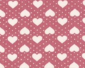 "Hearts and Spots - White on Pink - 100% Cotton Poplin Dress Fabric - Material - Metre/Half - 44"" (112cm) wide"