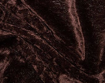 "Brown Crushed Velvet Velour Stretch Fabric Material - Polyester - 150cm (59"") wide"