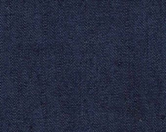 "Dark Colour - Lightweight Washed 4oz Denim 100% Cotton Fabric Material 145cm (57.5"") Wide"