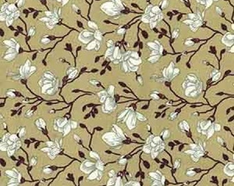 "White/Black on Tan Brown Floral Flowers - 100% Cotton Poplin Dress Fabric - Material - Metre/Half - 44"" (112cm) wide"