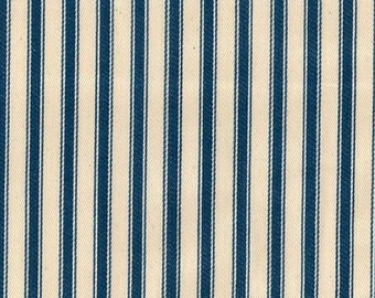 "Marine Blue on Ivory - 100% Cotton Ticking Stripes Fabric Material - 137cm (53"") wide"