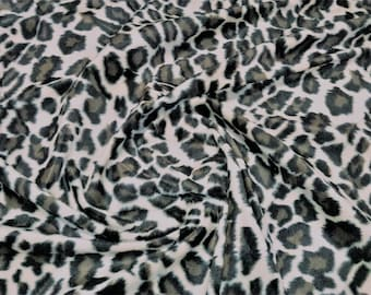 "Jaguar / Snow Leopard - Animal Print Polyester Velboa Fabric - Metre/Half - Faux Fur Pony Skin 58"" (145cm) wide Velour"