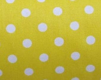 "White on Yellow - 100% Cotton Poplin Dress Fabric Material - 7mm Polka Dot / Spot - Metre/Half - 44"" (112cm) wide"
