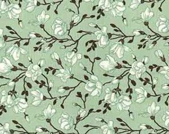 "Green/Black on Mint Green Floral Flowers - 100% Cotton Poplin Dress Fabric - Material - Metre/Half - 44"" (112cm) wide"