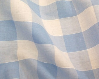 Pale Blue - Corded Gingham - 1 Inch Check - Dress Fabric Material - Metre/Half - 44 inches (112cm) wide