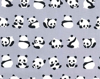 "Panda Bears on Silver Grey - 100% Cotton Poplin Dress Fabric - Material - Metre/Half - 44"" (112cm) wide"