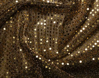 "Gold/Black - 3mm Sequin Fabric - Shiny Sparkly Material - 44"" (112cm) wide Knitted Backing"