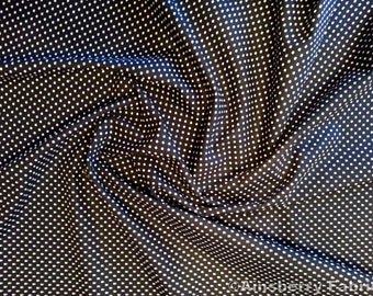 "Black - 100% Cotton Poplin Dress Fabric Material - 3mm Polka Dot / Spot - Metre/Half - 44"" (112cm) wide"