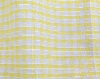 Yellow - Corded Gingham - Eighth 1/8 Inch Check - Dress Fabric Material - Metre/Half - 44 inches (112cm) wide