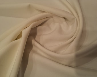 "Ivory - Polyester Bi-Stretch Panama Suiting Dress Fabric - 147cm (58"") Wide"