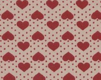 "Hearts and Spots - Wine on White - 100% Cotton Poplin Dress Fabric - Material - Metre/Half - 44"" (112cm) wide"