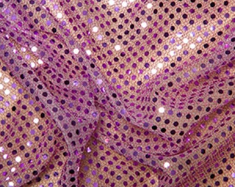 "Lilac - 3mm Sequin Fabric - Shiny Sparkly Material - 44"" (112cm) wide Knitted Backing"
