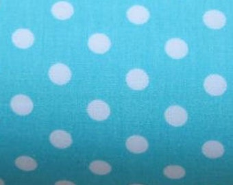 "White on Mint - 100% Cotton Poplin Dress Fabric Material - 7mm Polka Dot / Spot - Metre/Half - 44"" (112cm) wide"