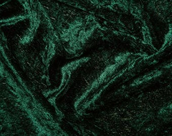 "Bottle Green Crushed Velvet Velour Stretch Fabric Material - Polyester - 150cm (59"") wide"
