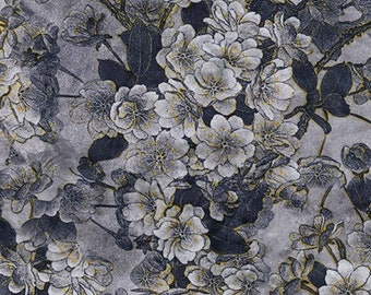 "Silver / Blue - Printed Velvet - Rayon/Polyester Fabric Material - 140cm (55"") wide"