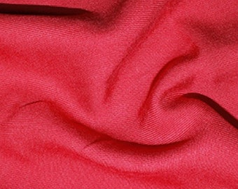 "Red - Plain Viscose Twill Dress Fabric Material - per Metre/Half - 55"" (140cm) wide"