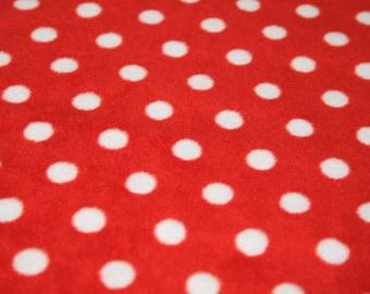 "White Spots on Red - Polar Fleece Fabric - Metre/Half - Anti Pil - 59"" (150cm) wide"