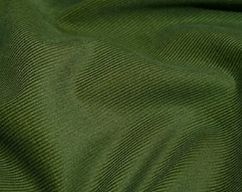 "Olive Green - Needlecord Cotton Corduroy 21 Wale Fabric Material - 140cm (55"") wide"
