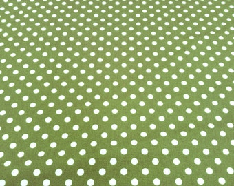 "White on Green - 100% Cotton Poplin Dress Fabric Material - 7mm Polka Dot / Spot - Metre/Half - 44"" (112cm) wide"