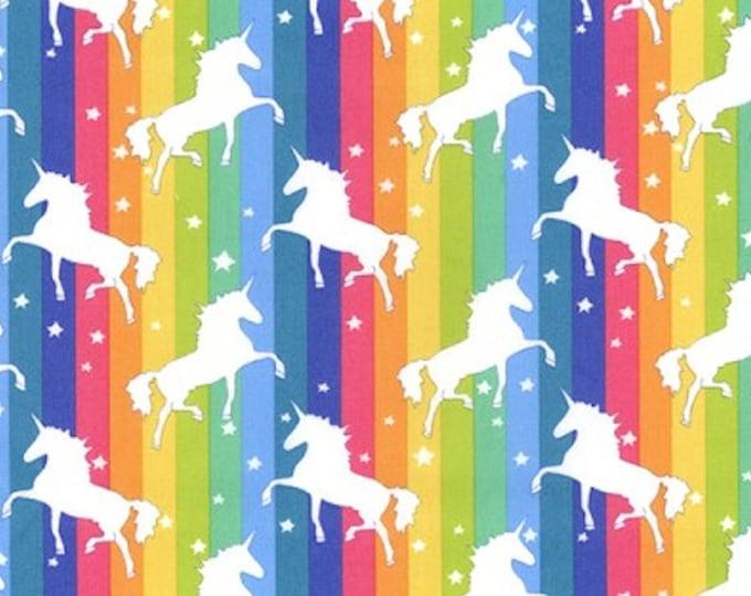 "Featured listing image: White Unicorns on Rainbow Background - 100% Cotton Poplin Dress Fabric - Metre/Half - 44"" (112cm) wide"