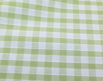 Lime Green - Corded Gingham - Quarter Inch Check - Dress Fabric Material - Metre/Half - 44 inches (112cm) wide