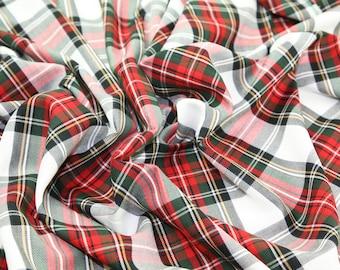 "Red / White (Stewart Modern) - Tartan Fabric - PolyViscose - Metre/Half - 59"" (150cm) wide"