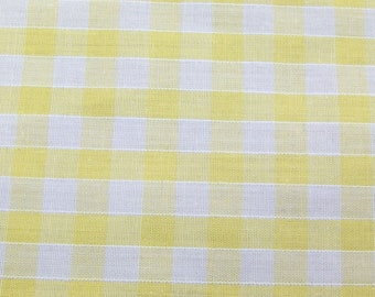 Yellow - Corded Gingham - Quarter Inch Check - Dress Fabric Material - Metre/Half - 44 inches (112cm) wide
