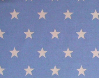 "White Stars on Pale Blue (20mm) - 100% Cotton Poplin Dress Fabric - Material - Metre/Half - 44"" (112cm) wide"
