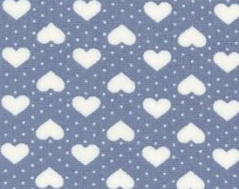 "Hearts and Spots - White on Blue - 100% Cotton Poplin Dress Fabric - Material - Metre/Half - 44"" (112cm) wide"